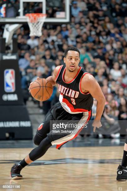 J McCollum of the Portland Trail Blazers handles the ball against the San Antonio Spurs on March 15 2017 at the ATT Center in San Antonio Texas NOTE...