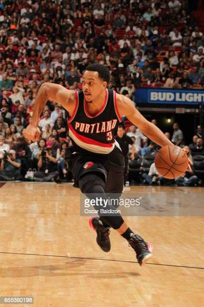 McCollum of the Portland Trail Blazers handles the ball against the Miami Heat on March 19 2017 at AmericanAirlines Arena in Miami Florida NOTE TO...
