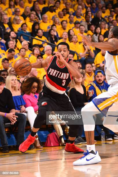 J McCollum of the Portland Trail Blazers handles the ball against the Golden State Warriors during the Western Conference Quarterfinals of the 2017...