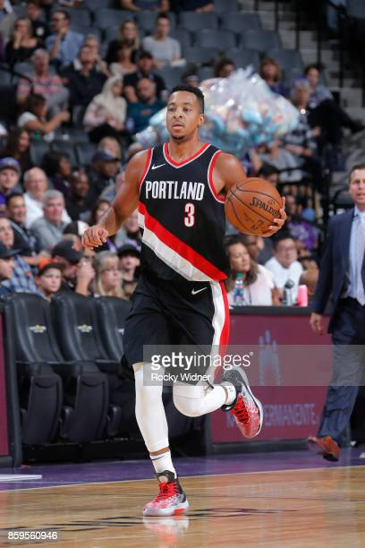 McCollum of the Portland Trail Blazers handles the ball against the Sacramento Kings during a preseason game on October 9 2017 at ORACLE Arena in...