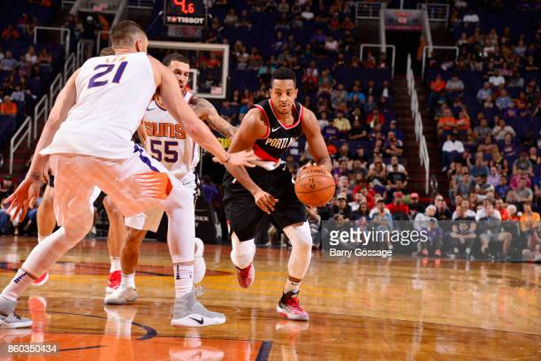 McCollum of the Portland Trail Blazers handles the ball against the Phoenix Suns during the preseason game on October 11 2017 at Talking Stick Resort...