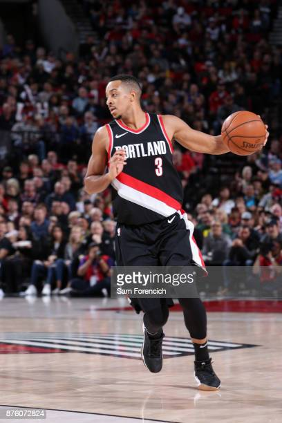 McCollum of the Portland Trail Blazers handles the ball against the Sacramento Kings on November 18 2017 at the Moda Center in Portland Oregon NOTE...