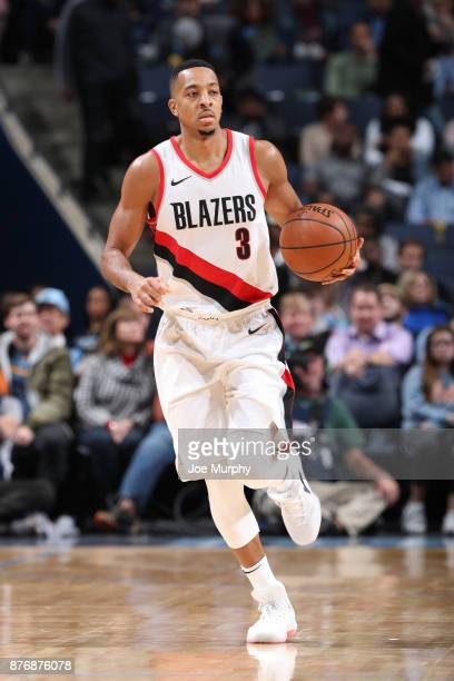 McCollum of the Portland Trail Blazers handles the ball against the Memphis Grizzlies on November 20 2017 at FedExForum in Memphis Tennessee NOTE TO...