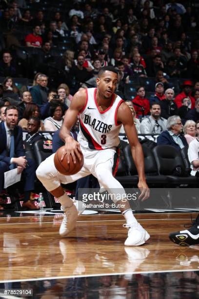 McCollum of the Portland Trail Blazers handles the ball against the Brooklyn Nets on November 24 2017 at Barclays Center in Brooklyn New York NOTE TO...