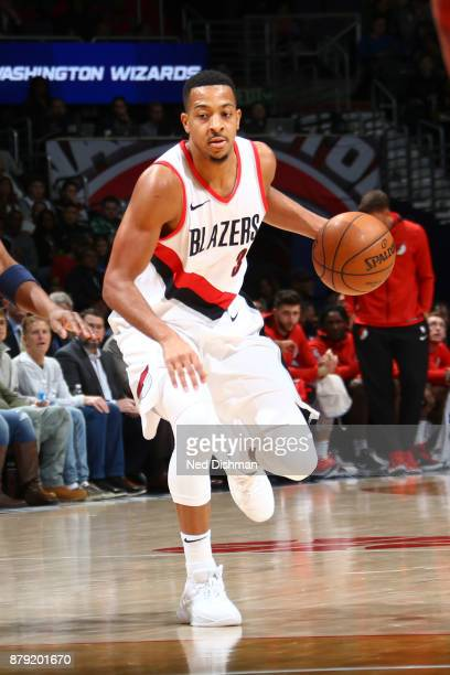 McCollum of the Portland Trail Blazers handles the ball against the Washington Wizards on November 25 2017 at Capital One Arena in Washington DC NOTE...