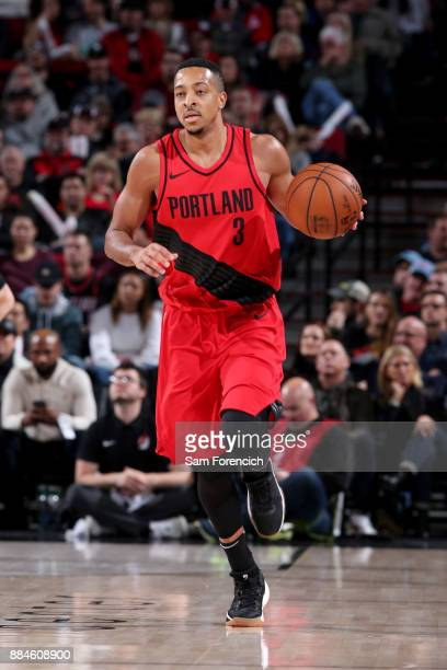 McCollum of the Portland Trail Blazers handles the ball against the New Orleans Pelicans on December 2 2017 at the Moda Center in Portland Oregon...