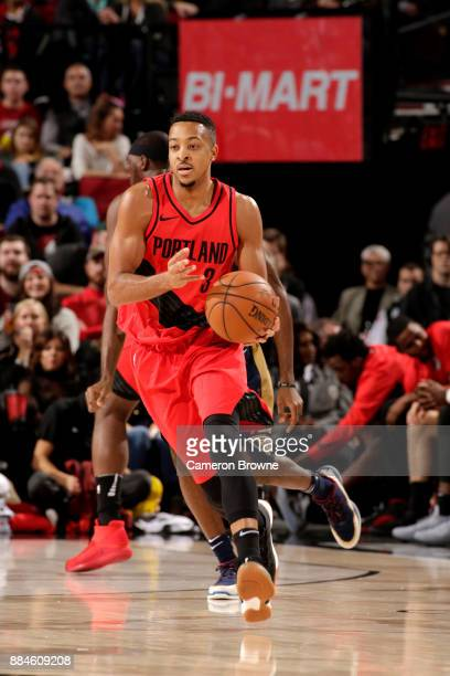 McCollum of the Portland Trail Blazers handles the ball against the New Orleans Pelicanson December 2 2017 at the Moda Center in Portland Oregon NOTE...