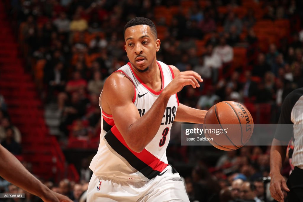 CJ McCollum #3 of the Portland Trail Blazers handles the ball against the Miami Heat on December 13, 2017 at American Airlines Arena in Miami, Florida.