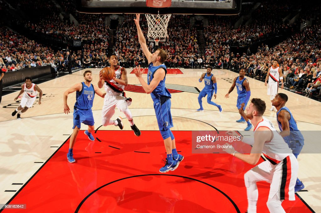 CJ McCollum #3 of the Portland Trail Blazers handles the ball against the Dallas Mavericks on January 20, 2018 at the Moda Center in Portland, Oregon.