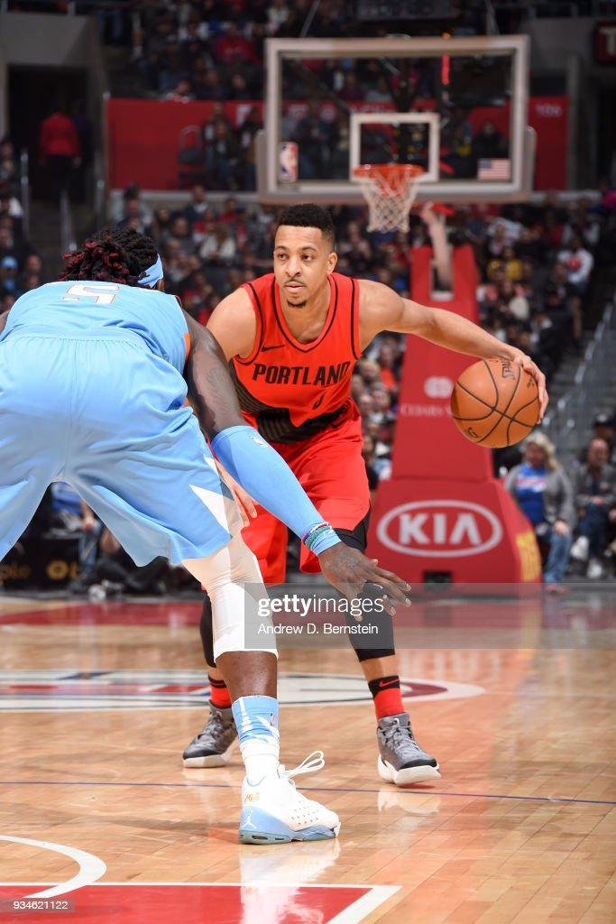 CJ McCollum #3 of the Portland Trail Blazers handles the ball against the LA Clippers on March 18, 2018 at STAPLES Center in Los Angeles, California.