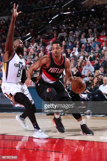 J McCollum of the Portland Trail Blazers handles the ball during a game against the Utah Jazz on April 10 2017 at the Moda Center in Portland Oregon...