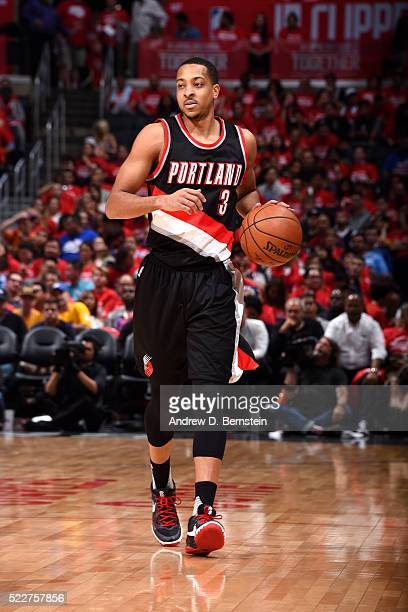 J McCollum of the Portland Trail Blazers handles the ball during the game against the Los Angeles Clippers in Game Two of the Western Conference...