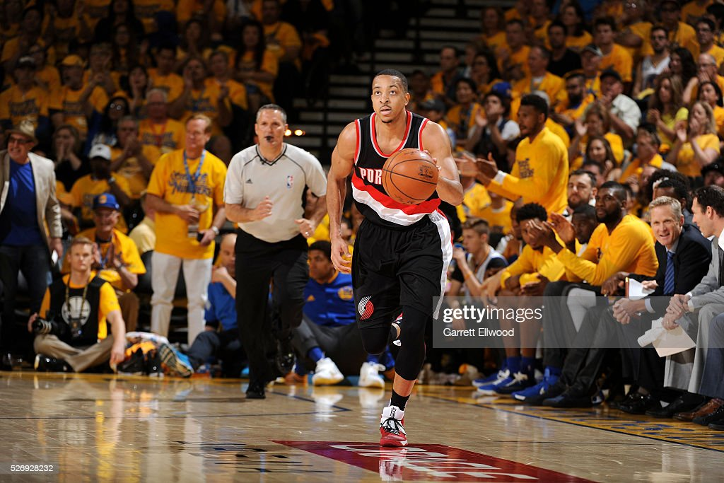 C.J. McCollum #3 of the Portland Trail Blazers handles the ball during the game against the Golden State Warriors in Game One of the Western Conference Semifinals during the 2016 NBA Playoffs on May 1, 2016 at ORACLE Arena in Oakland, California.