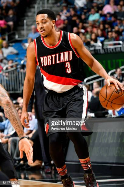 J McCollum of the Portland Trail Blazers handles the ball during the game against the Orlando Magic on February 23 2017 at Amway Center in Orlando...
