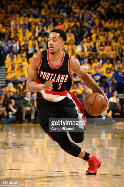 J McCollum of the Portland Trail Blazers handles the ball during the game against the Golden State Warriors during the Western Conference...