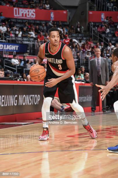 McCollum of the Portland Trail Blazers handles the ball during the 2017 NBA PreSeason game against the LA Clippers on October 8 2017 at STAPLES...