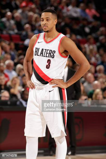 McCollum of the Portland Trail Blazers looks on against the Memphis Grizzlies on November 7 2017 at the Moda Center in Portland Oregon NOTE TO USER...