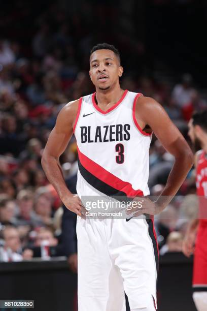 McCollum of the Portland Trail Blazers looks on during a pre season game against the Toronto Raptors on October 5 2017 at the Moda Center in Portland...