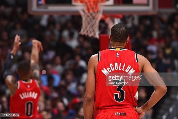 J McCollum of the Portland Trail Blazers looks on during the game against the LA Clippers on November 09 2016 at STAPLES Center in Los Angeles...