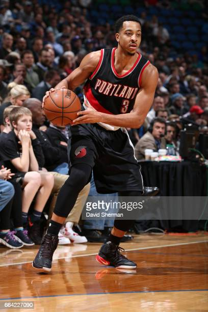 J McCollum of the Portland Trail Blazers looks to drive to the basket against the Minnesota Timberwolves at the Target Center in Minneapolis...