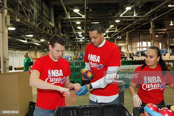 J McCollum of the Portland Trail Blazers participates during the NBA Cares AllStar Day of Service as part of 2016 AllStar Weekend at NBA Centre Court...