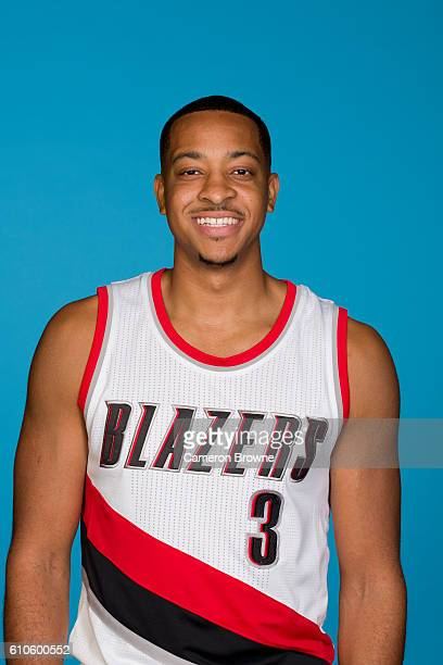 J McCollum of the Portland Trail Blazers poses for a headshot during the 20162017 Portland Trail Blazers media day on September 26 2016 at the Rose...