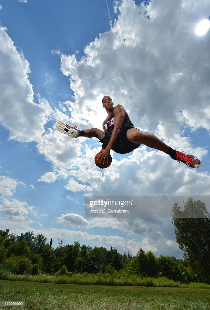 C.J. McCollum of the Portland Trail Blazers poses for a portrait during the 2013 NBA Rookie Photo Shoot on August 6, 2013 at the MSG Training Facility in Tarrytown, New York.