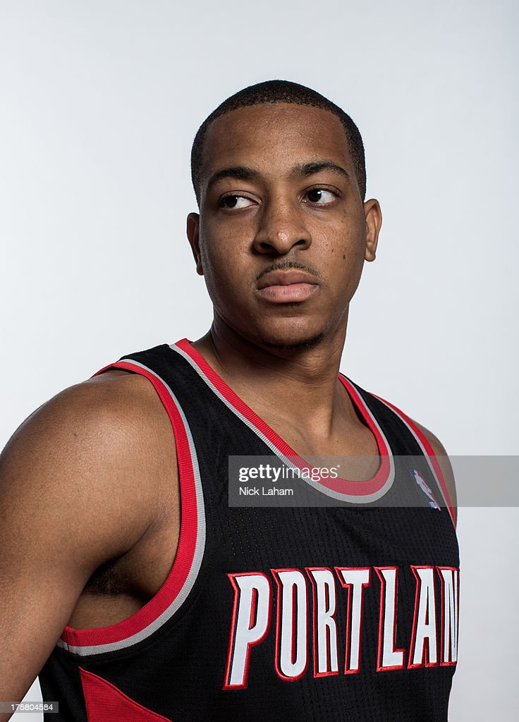 C.J. McCollum #3 of the Portland Trail Blazers poses for a portrait during the 2013 NBA rookie photo shoot at the MSG Training Center on August 6, 2013 in Greenburgh, New York.