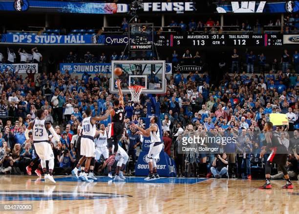 J McCollum of the Portland Trail Blazers puts up the game winning lay up against the Dallas Mavericks on February 7 2017 at the American Airlines...