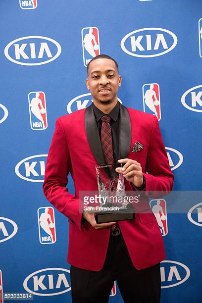 McCollum of the Portland Trail Blazers receives the 201516 Kia NBA Most Improved Player of the Year Award on April 22 2016 at the Trail Blazer...