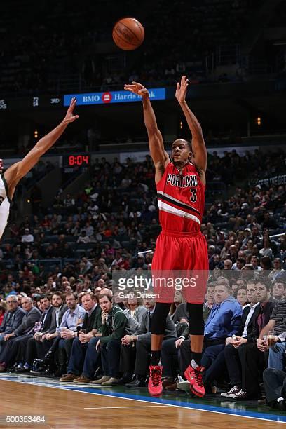 J McCollum of the Portland Trail Blazers shoots against the Milwaukee Bucks on December 7 2015 at the BMO Harris Bradley Center in Milwaukee...