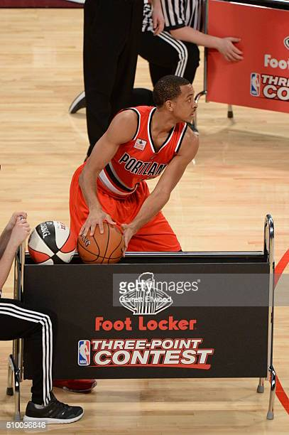 J McCollum of the Portland Trail Blazers shoots during the Foot Locker ThreePoint Contest as part of 2016 NBA AllStar Weekend on February 13 2016 at...