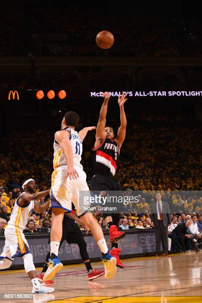 J McCollum of the Portland Trail Blazers shoots the ball against the Golden State Warriors during the Western Conference Quarterfinals of the 2017...