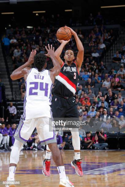 McCollum of the Portland Trail Blazers shoots the ball against the Sacramento Kings during a preseason game on October 9 2017 at ORACLE Arena in...