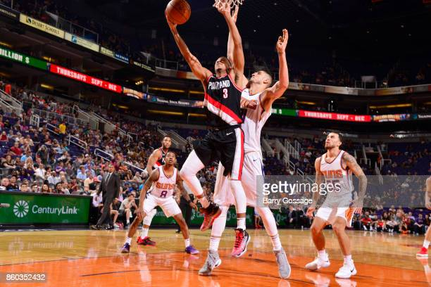 McCollum of the Portland Trail Blazers shoots the ball against the Phoenix Suns during the preseason game on October 11 2017 at Talking Stick Resort...