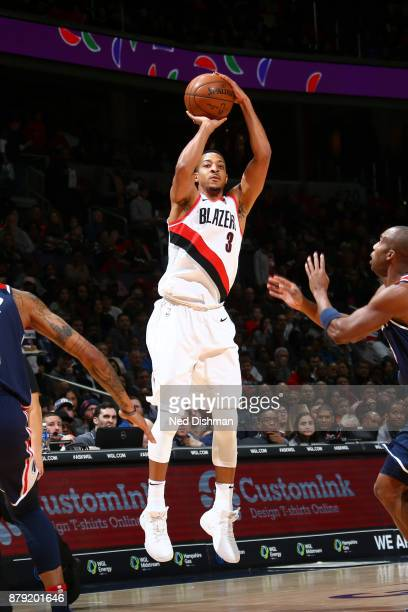McCollum of the Portland Trail Blazers shoots the ball against the Washington Wizards on November 25 2017 at Capital One Arena in Washington DC NOTE...