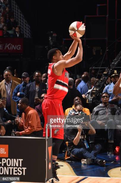 J McCollum of the Portland Trail Blazers shoots the ball during the JBL ThreePoint Contest during State Farm AllStar Saturday Night as part of the...