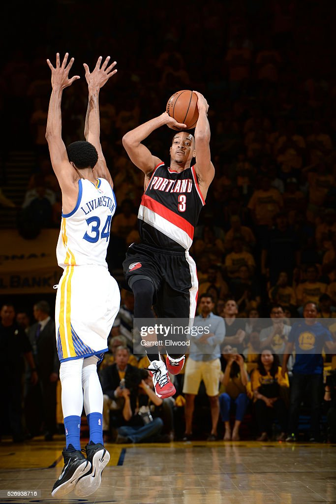 C.J. McCollum #3 of the Portland Trail Blazers shoots the ball during the game against the Golden State Warriors in Game One of the Western Conference Semifinals during the 2016 NBA Playoffs on May 1, 2016 at ORACLE Arena in Oakland, California.