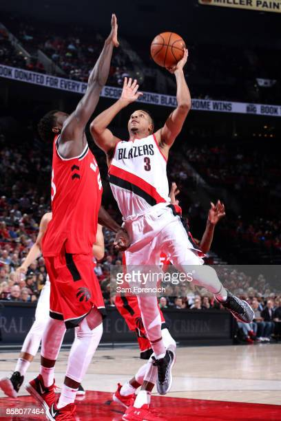 McCollum of the Portland Trail Blazers shoots the ball during the game against the Toronto Raptors during a preseason game on October 5 2017 at the...