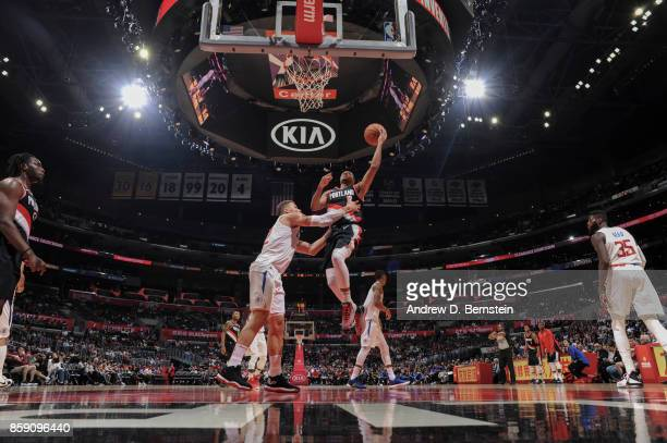 McCollum of the Portland Trail Blazers shoots the ball during the 2017 NBA PreSeason game against the LA Clippers on October 8 2017 at STAPLES Center...