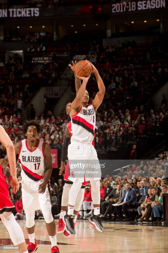 CJ McCollum #3 of the Portland Trail Blazers shoots the ball during the preseason game against the Toronto Raptors on October 5, 2017 at the Moda Center Arena in Portland, Oregon.