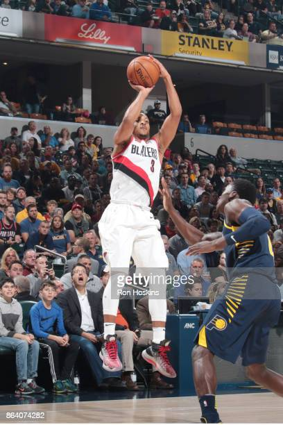 McCollum of the Portland Trail Blazers shoots the ball during the game against the Indiana Pacers on October 20 2017 at Bankers Life Fieldhouse in...