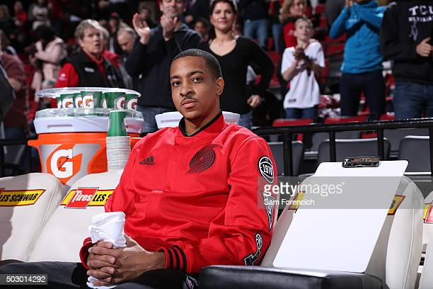 J McCollum of the Portland Trail Blazers sits on the bench before the game against the Denver Nuggets on December 30 2015 at the Moda Center Arena in...