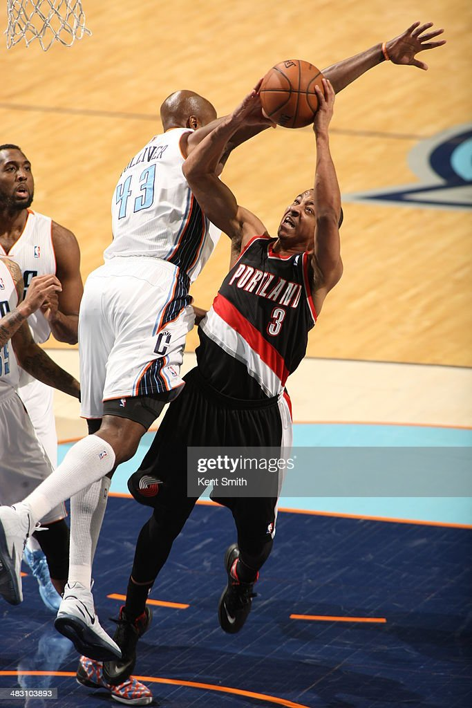 C.J. McCollum #3 of the Portland Trail Blazers takes a shot against the Charlotte Bobcats during the game at the Time Warner Cable Arena on March 22, 2014 in Charlotte, North Carolina.