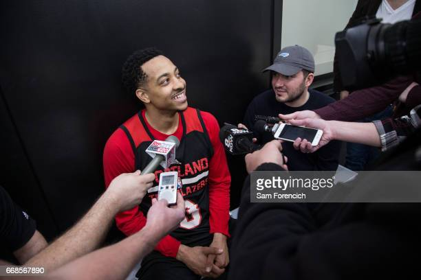 J McCollum of the Portland Trail Blazers talks to the media during an all access practice on April 11 2017 at the Trail Blazers Practice Facility in...