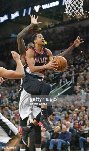 J McCollum of the Portland Trail Blazers the the San Antonio Spurs at ATT Center on March 15 2017 in San Antonio Texas NOTE TO USER User expressly...