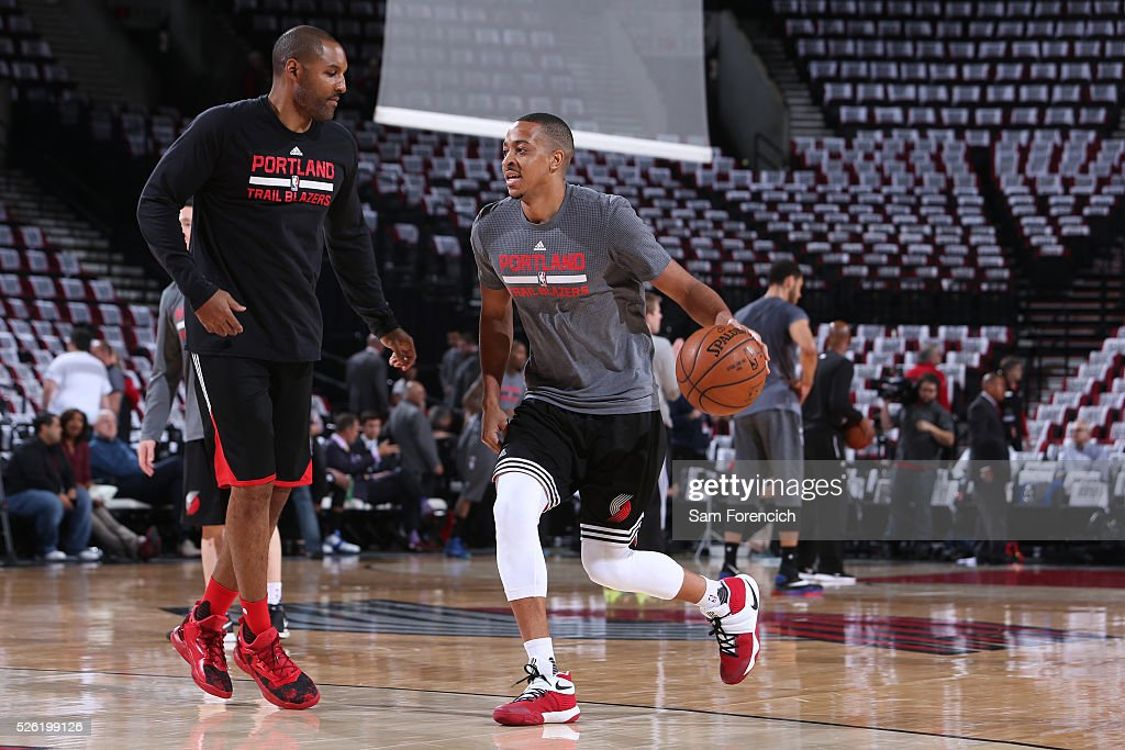 C.J. McCollum #3 of the Portland Trail Blazers warms up before the game against the Los Angeles Clippers in Game Six of the Western Conference Quarterfinals during the 2016 NBA Playoffs on April 29, 2016 at the Moda Center in Portland, Oregon.
