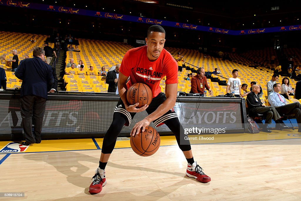 C.J. McCollum #3 of the Portland Trail Blazers warms up before the game against the Golden State Warriors in Game One of the Western Conference Semifinals during the 2016 NBA Playoffs on May 1, 2016 at ORACLE Arena in Oakland, California.