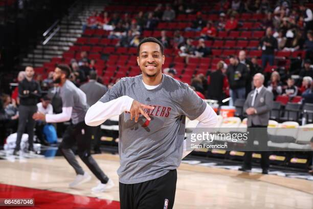 McCollum of the Portland Trail Blazers warms up before the game against the Philadelphia 76ers during the game on March 9 2017 at the Moda Center in...