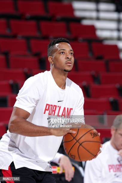 McCollum of the Portland Trail Blazers warms up before the game against the Toronto Raptors during a preseason game on October 5 2017 at the Moda...
